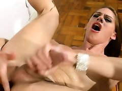 Big ass shemale is spreading and fingering her tight asshole