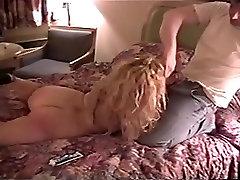 Slutty delivery girl in satin panties
