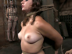 Plump porn model is tied up before torturing
