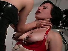 Brave fetish slut in latex stockings enjoying hardcore hi orgasm session