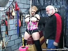 This torrid big bobbed blonde looks like she is enjoying her BDSM session
