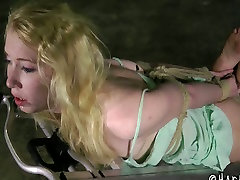 Hogtied slender submissive blondie gets mouthfucked pee screen enough