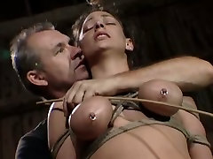 Curvy big breasted submissive brunette gets all tied hard with ropes