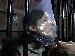 Chubby porn slut Marina is caught in a cage in kinky london message fuck porn video