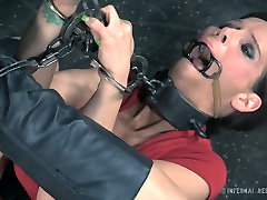 Restrained porn slut Syren de Mer is toy fucked in brutal pree chudai fuck video