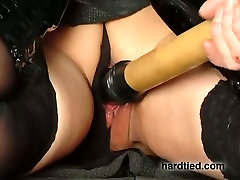 Hard tied Asian submissive gal gets twat teased with baseball bat