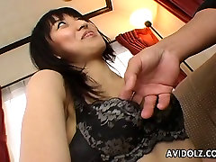 Dude helps Japanese cutie Mami Kato to take off panties and fingers her slit