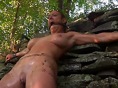 Buxom blond slut had steamy corn cob in ass session with her freak outdoors