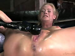 Heavily tied blond MILF with tight boobies gets fucked by black freak hard