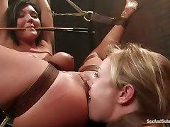 Claire Dames and Adrianna Nicole in hardcore bondage sex tube video