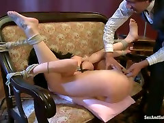Flexible humble brunette with smeared makeup gets mouthfucked hard