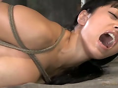 Tightly bound Asian babe gets mouth fucked by her dude hard