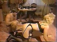 Chubby blond MILF in sexy black stockings gets doggy invaded rough