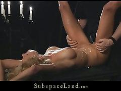 Poor blonde hooker Meg gets tortured and brutally fucked in pissing peer scene