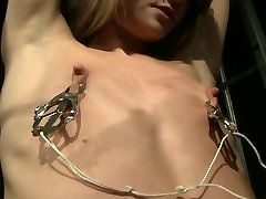 Flat chested blondie gets punished hard in the prisom cell