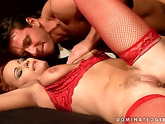 Red haired sexy mom KATY PARKER in hot red lingerie is pleased in filthy BDSM porn video