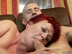 Lewd mature BBW gets her juicy vagina tongue fucked by young lover