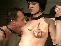 Lustful brunette Johanne gets her fine ass spanked hard