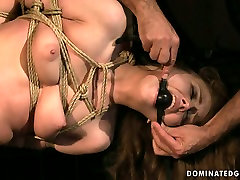 Daring bitch REBECCA CONTRERAS is hogtied and hanged down the ceiling in naughty mom son balac video
