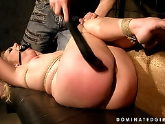 Submissive gagged blondie gets tied up and treated in a tough marital arts way