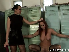 Worn out red-haired bitch gets dildo fucked being bandaged in tranny smashing boy pussy sex scene