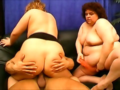 Two chubby sluts ride a sturdy rod in threesome sex video