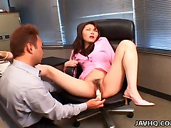 Voracious dude pokes hairy pussy of Japanese nympho Maria Fujisawa with sex toys