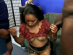 Curly long haired chick Tina can easily please two dicks in a flash