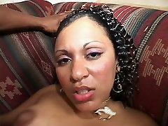 Fuckable black slut gets poked hard in missionary pose