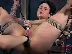 Tied up pallid bitch Syd Blakovich gets fisted in geyser mom way