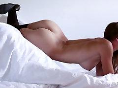 Black lingerie perfect body blonde Amber Sym stripteasing.
