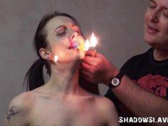 Cruel burning and electro bdsm of tortured slaveslut
