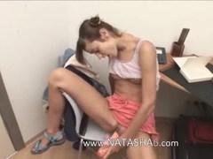 Office teen masturbating hairy vagina