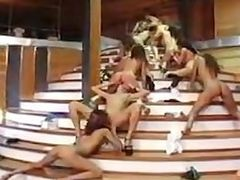 Lesbian Orgy On The Stairs