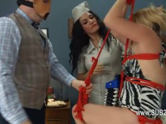Extreme dildo anal loving with rope BDSM teacher