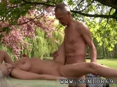 Two mature and girl Paul is loving his breakfast in the garden with his
