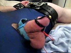 Tied bear in wrestling singlet gets electro