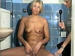 Masturbating in the bathroom plus amateur sucking off cameraman