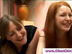 Cfnm girls blocking boy under the sofa