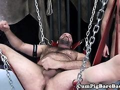 Suspened bear rimmed in hoist before bareback