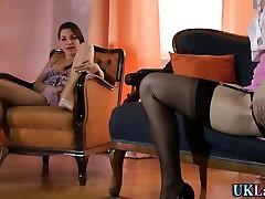 Teen les stockings rubs