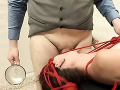 cute BDSM anal action with rope and fucker