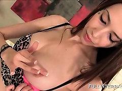 Little slut fitting huge black dick in her pussy