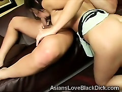 Big boobed Asian beauty is destroyed by a black cock