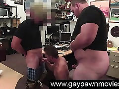 Gay blowjobs in threesome on camera for cash