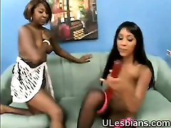Big booty sistas joint their big brown asses to share dildo