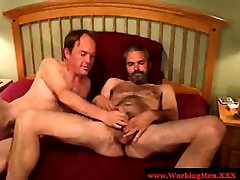 Gaystraight hairy bear wanks after bj