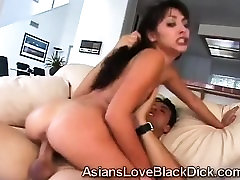 Asian beauty mounts like a whore to take every inch of dick