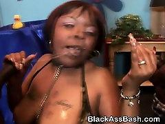 Huge Titty Black Slut From The Hood Sucking Two Dicks