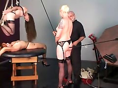 Blonde redhead and brunette free upskirt pics slaves bound to and hung over table by old man